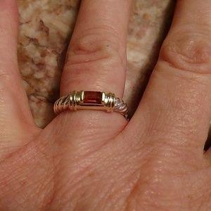 David Yurman SS citrine 14k gold classic ring 7